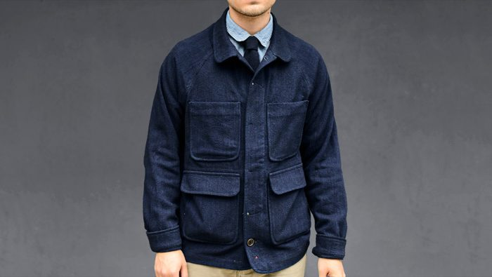 apolis italian indigo wool chore jacket