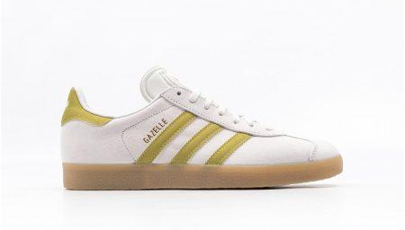 adidas Gazelle disponíveis em White/Gold/Gum