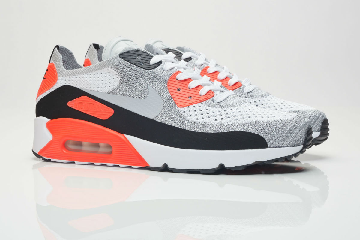 nike air max 90 ultra flyknit 2.0 wolf grey bright crimson