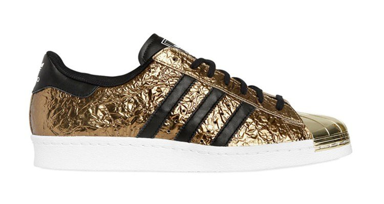adidas superstar 80s black stripes gold
