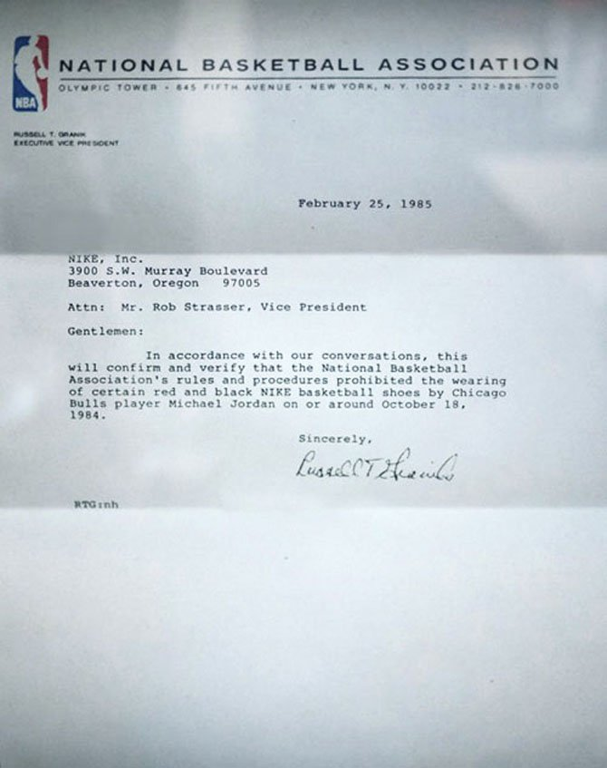 nba letter to nike - aj1 banned matter